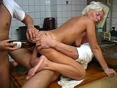 Aged lady fucks and sucks in group