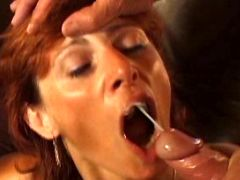 Milf gets facial after sex in group