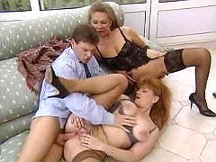 Two alluring mature ladies fuck guy