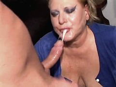 Chubby mom does blowjob