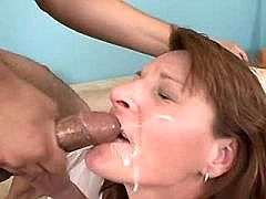 Mom in stockings gets facial after hard job by pussy