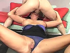 Blonde mature sucks and gets facial